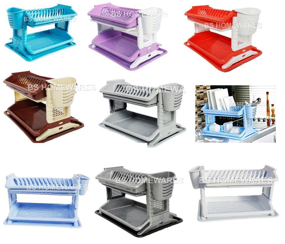 Plastic 2 Tier Dish Drainer Kitchen Utensil Cutlery Rack Cup Holder Sink  Tidy