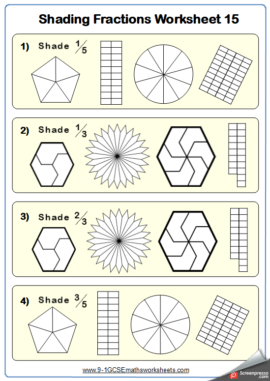 Shading Fractions C Maths Worksheet and Answers GCSE