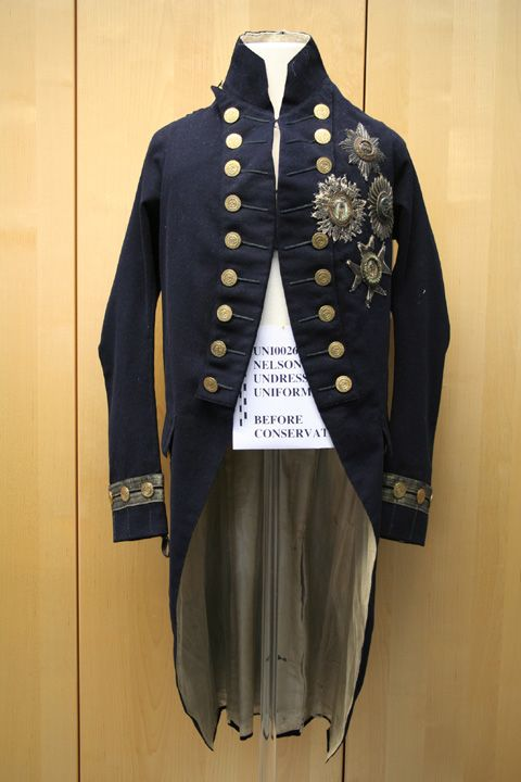 Nelson s Undress Uniform 1795-1812 navy blue raised wool with cream twill  silk lining. According to the National Maritime Museum Collection s blog a