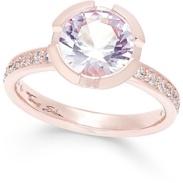 Thomas Sabo Pink Crystal Solitaire Ring In 18k Rose Gold Plated 149 Like Sterling Silver Crystal Ring Rings Jewelry Fashion Sterling Silver Rings Bands