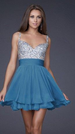 Vestido fiesta azul y blanco