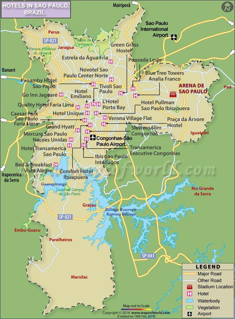 Sao Paulo Hotels Map   brazil.. land and people   Sao Paulo, Brazil, Map