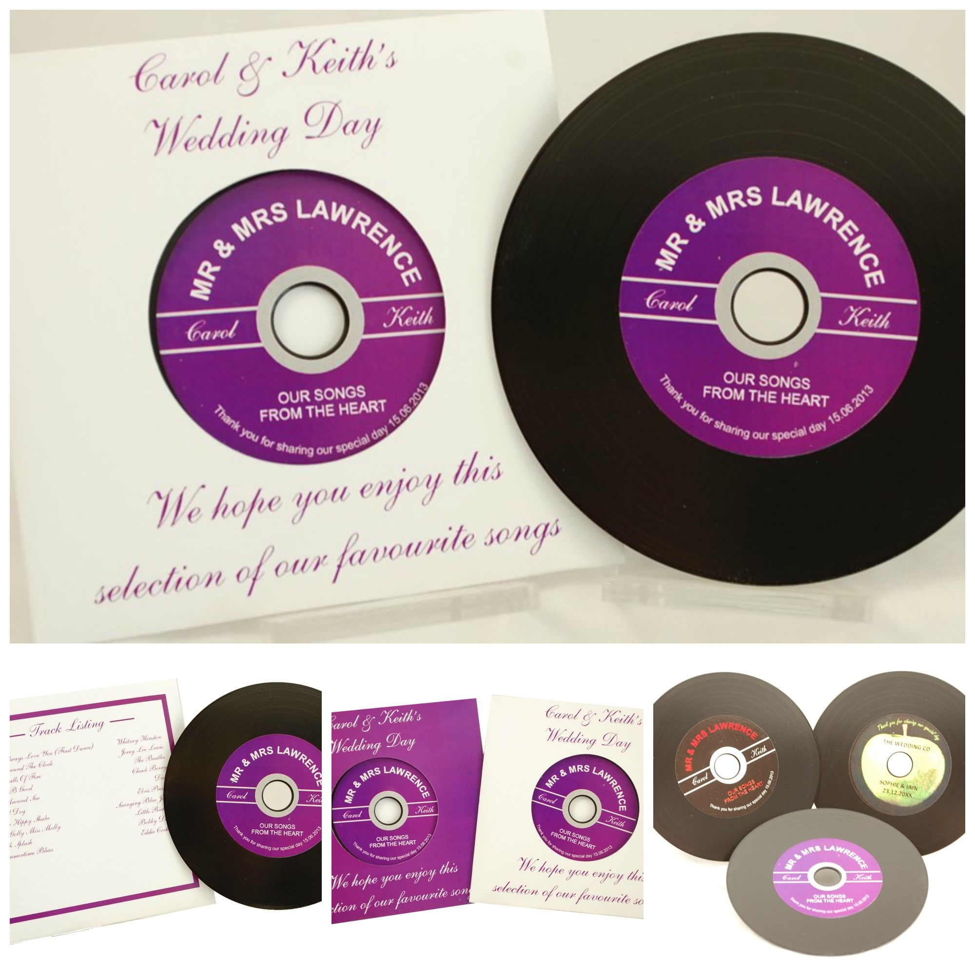Vinyl record style cd wedding favours record your favourite songs onto these recordable cds which look just like original 7 vinyl recordsthey even have