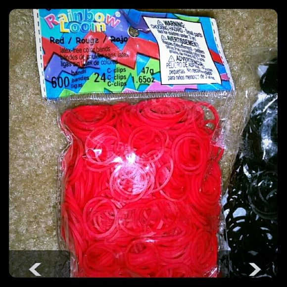 Rainbow loom bands 1 pk of unopened red loom bands has 600 in bag & 1 bag of opened black loom bands (as pictured) please see pic #3 for more description. Other