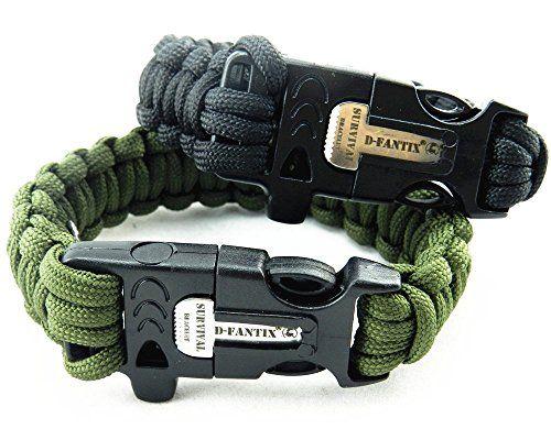 Dfantix Paracord Survival Bracelet With Flint Fire Starter Scraper