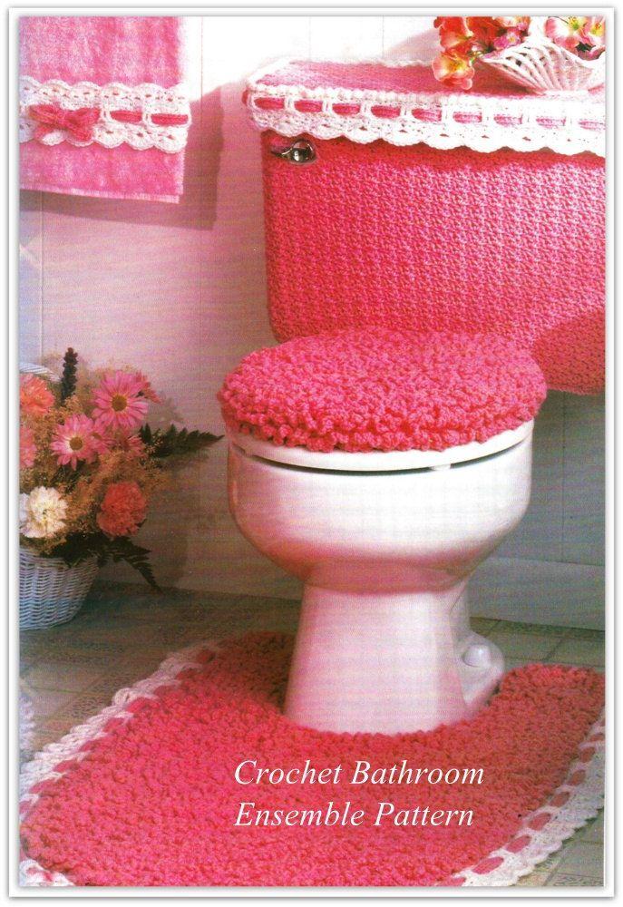 Crochet Bathroom Rug Lid Cover Tank Set Towel Trim Pattern No
