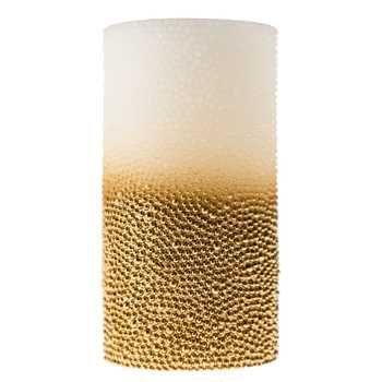 3 X 6 Ivory Gold Beaded Led Pillar Candle