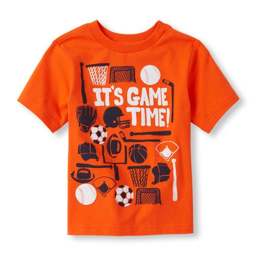 aa60e93b Baby Boys Toddler Boys 'It's Game Time!' Sports Graphic Tee - Orange T-Shirt  - The Children's Place