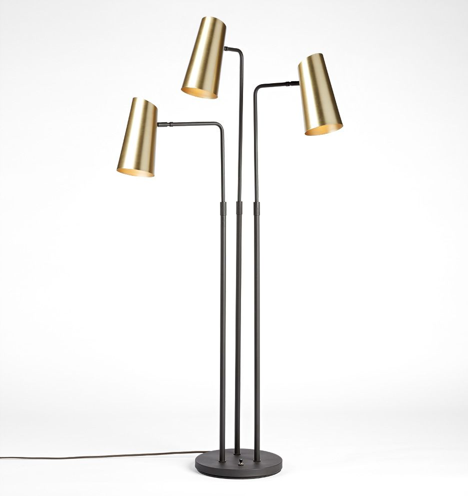 Cypress 3-Arm Floor Lamp Brushed Satin Brass with Oil Rubbed Bronzes Shades