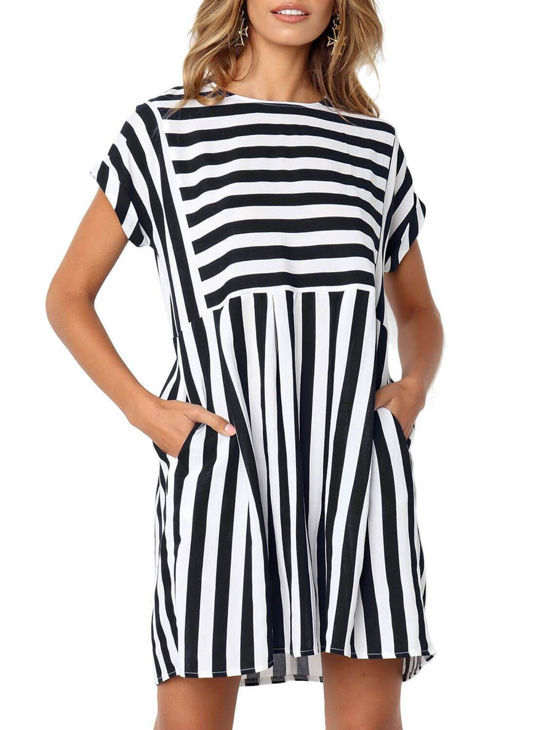 Sheinstreet Spring And Summer Striped Pocketed Casual Dress Striped Mini Dress Casual Dress Striped Casual Dresses [ 1500 x 1100 Pixel ]