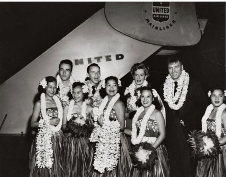 Montgomery clift frank sinatra deborah kerr and burt lancaster montgomery clift frank sinatra deborah kerr and burt lancaster with a traditional hawaiian greeting at the airport prior to filming from here to eternity m4hsunfo