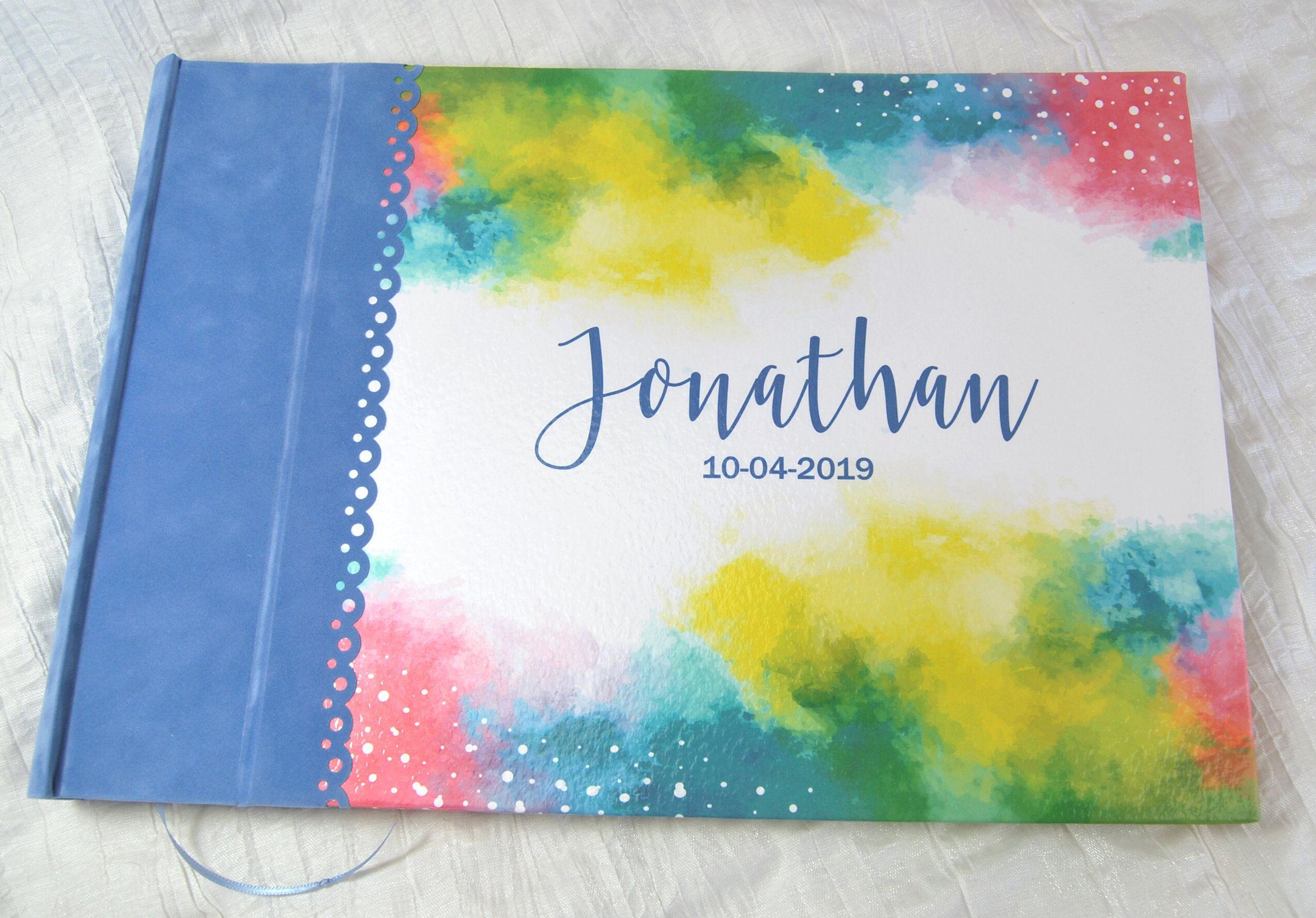 Fotoalbum Junge Aquarell Name Personalisiert Babyalbum Blau Bunt