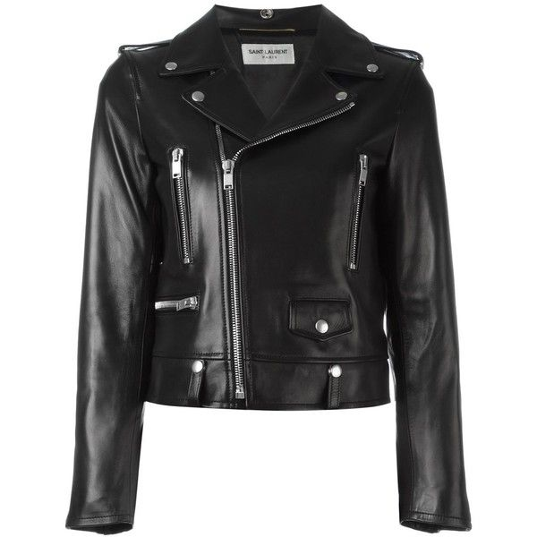 Saint Laurent classic motorcycle jacket ($4,520) ❤ liked on Polyvore featuring outerwear, jackets, black, embroidered jacket, moto jacket, long sleeve jacket, biker jacket and pattern jacket