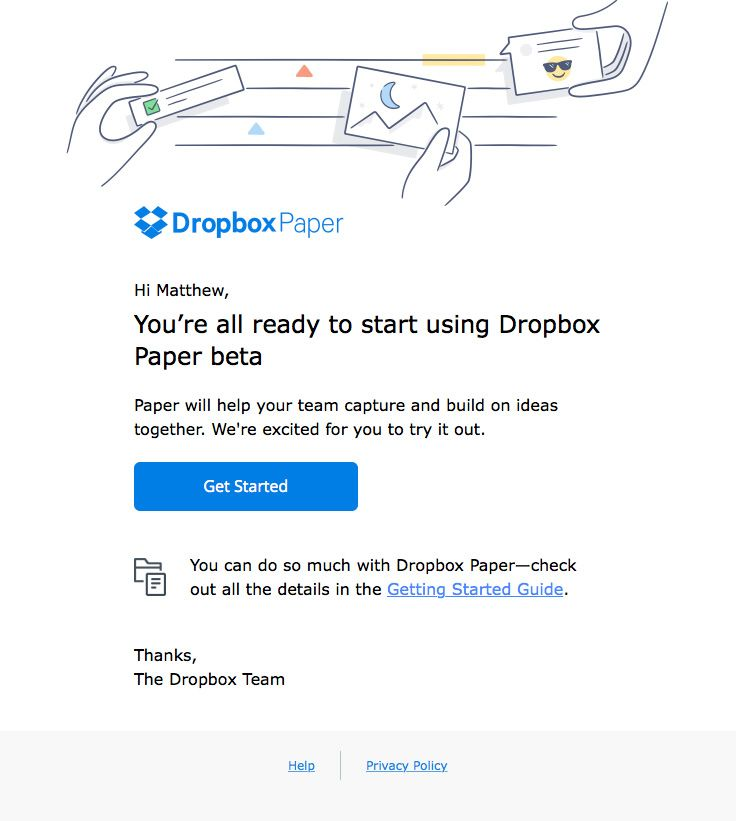Dropbox sent this email with the subject line Welcome to Dropbox - sending invoices by email