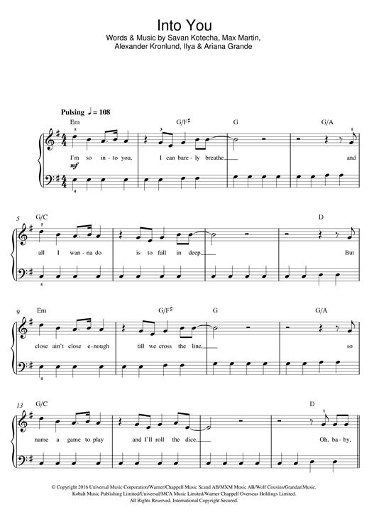 Ariana Grande Into You Sheet Music Notes Chords