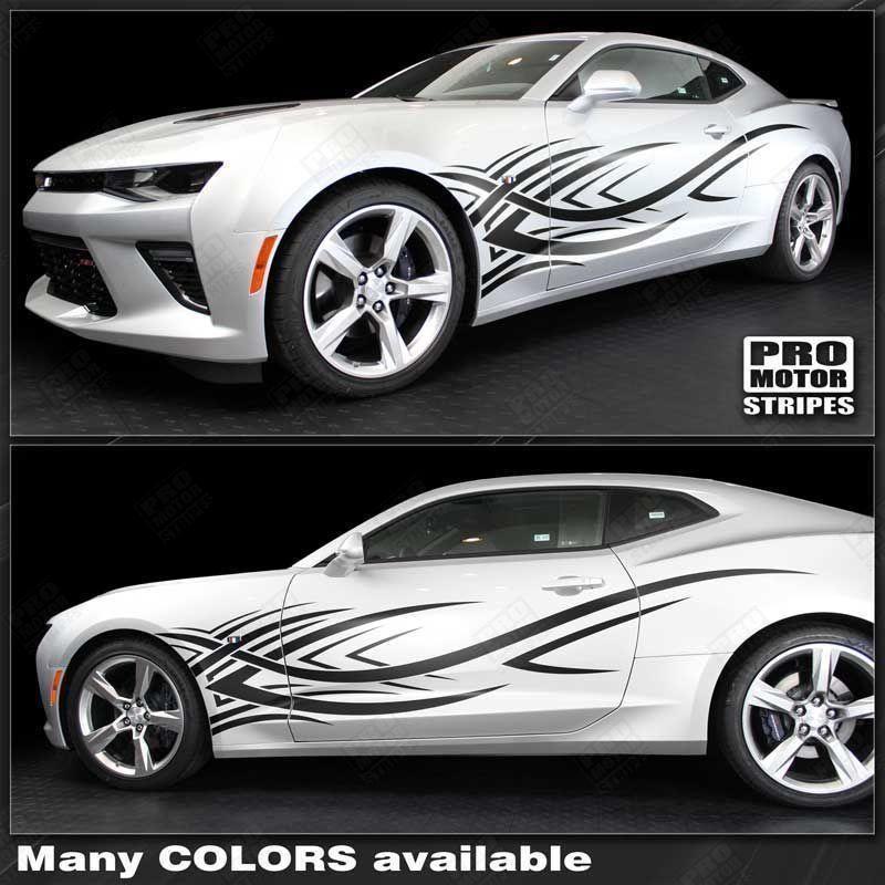 Chevrolet Camaro Racing Sport Side Stripes Decals 2014 2015 Pro Motor