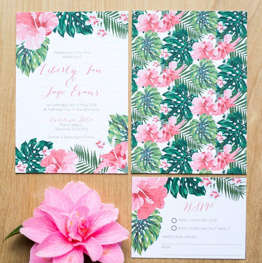 Tropical Hawaiian Wedding Invitation | Floral Wedding Invitations