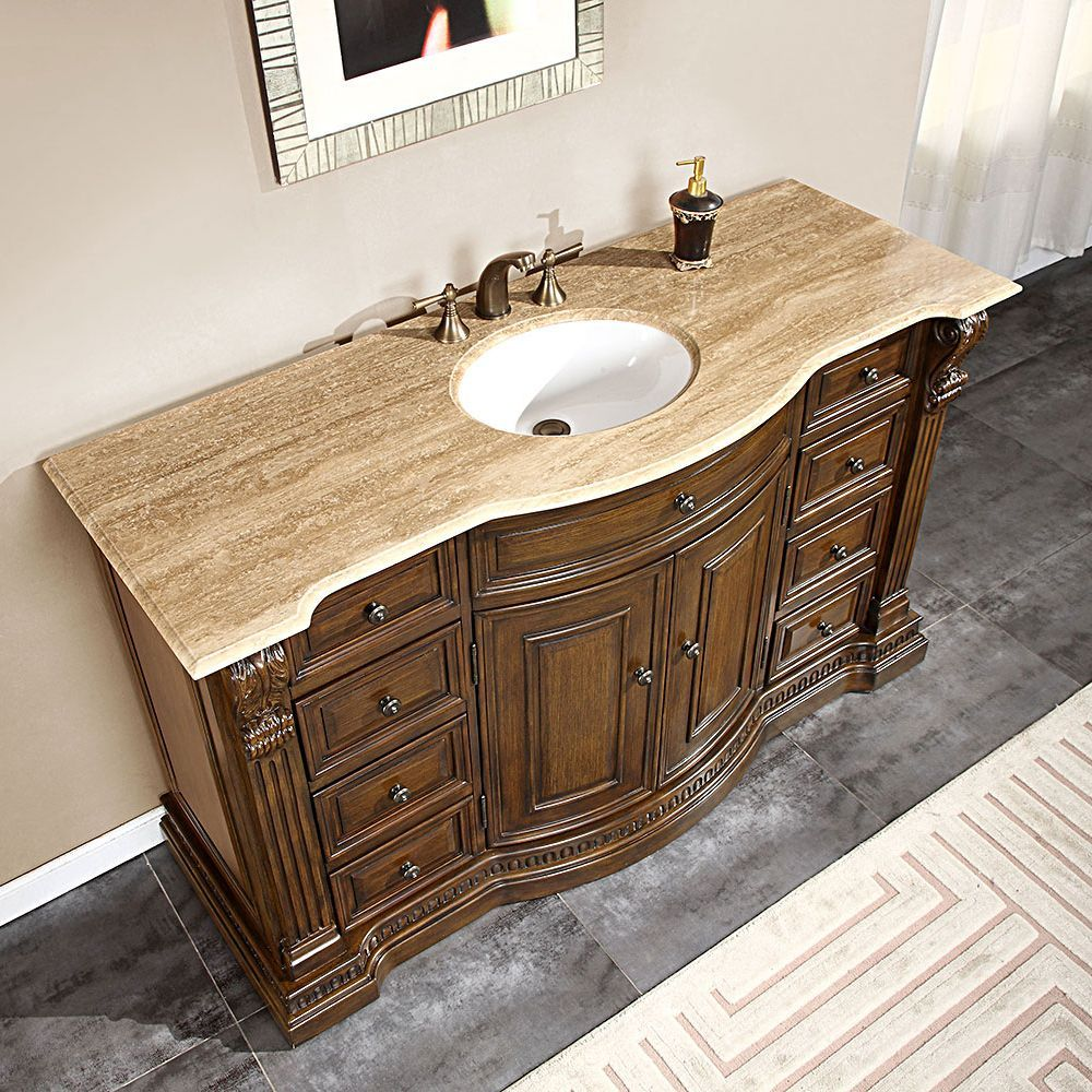 Silkroad exclusive 58 inch marble stone top bathroom vanity lavatory - Silkroad Exclusive 60 Inch Travertine Stone Top Bathroom Vanity By Silkroad Exclusive