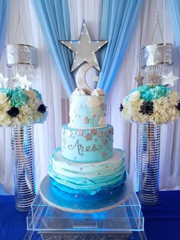 Starry Night Baby Shower Cake Baby Shower Cakes Shower