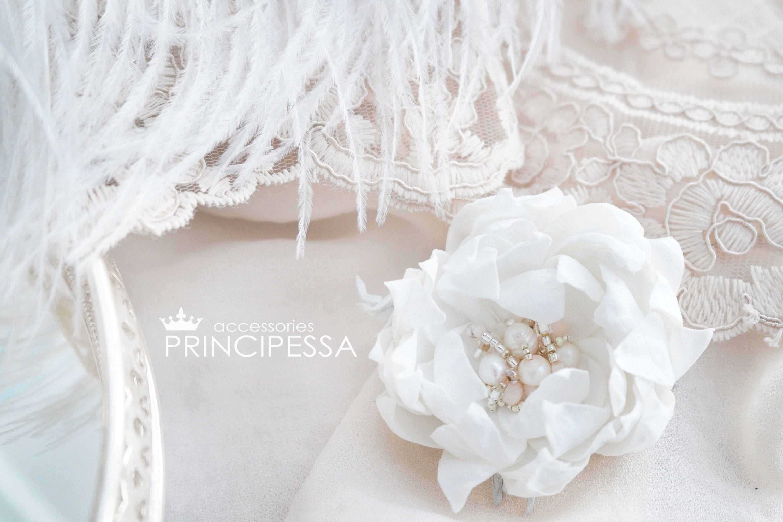 Wedding White Flower Wedding Hair Comb Bridal Hair Flower Fabric Flowers Wedding Accessories Bridal Accessories In 2020 Hair Comb Wedding Bridal Hair Flowers Flowers In Hair