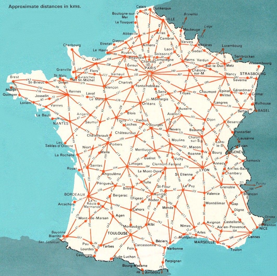 france France Map Map of France driving distances between major