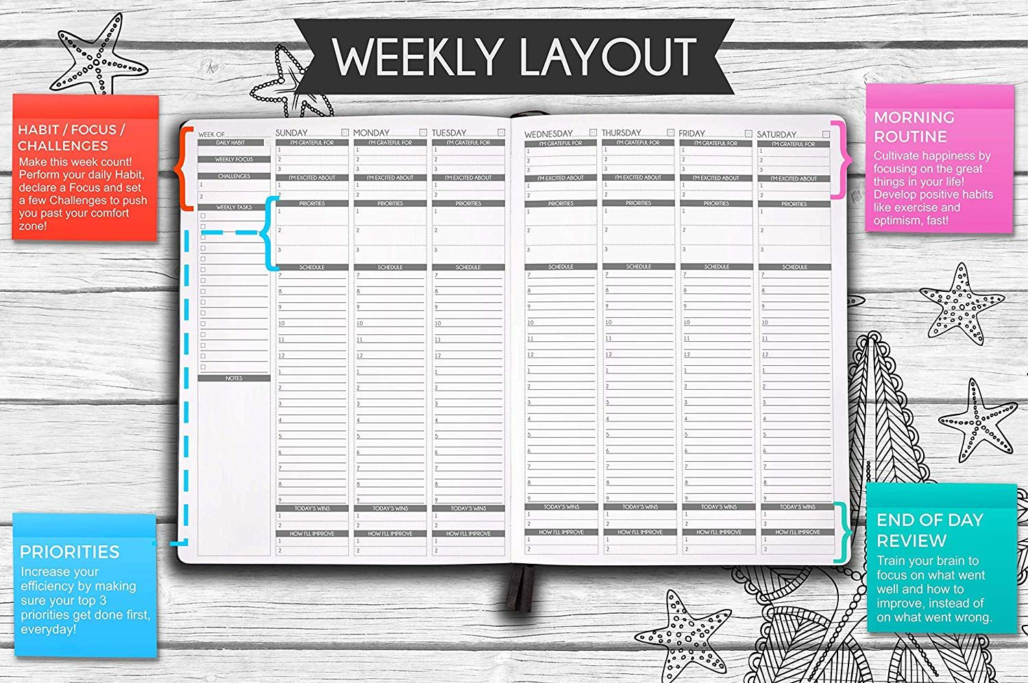 Amazon Com Panda Planner Color Coloring Book Weekly Planner For Productivity Happiness Weekly Layout Daily Grat Panda Planner Planner Weekly Planner