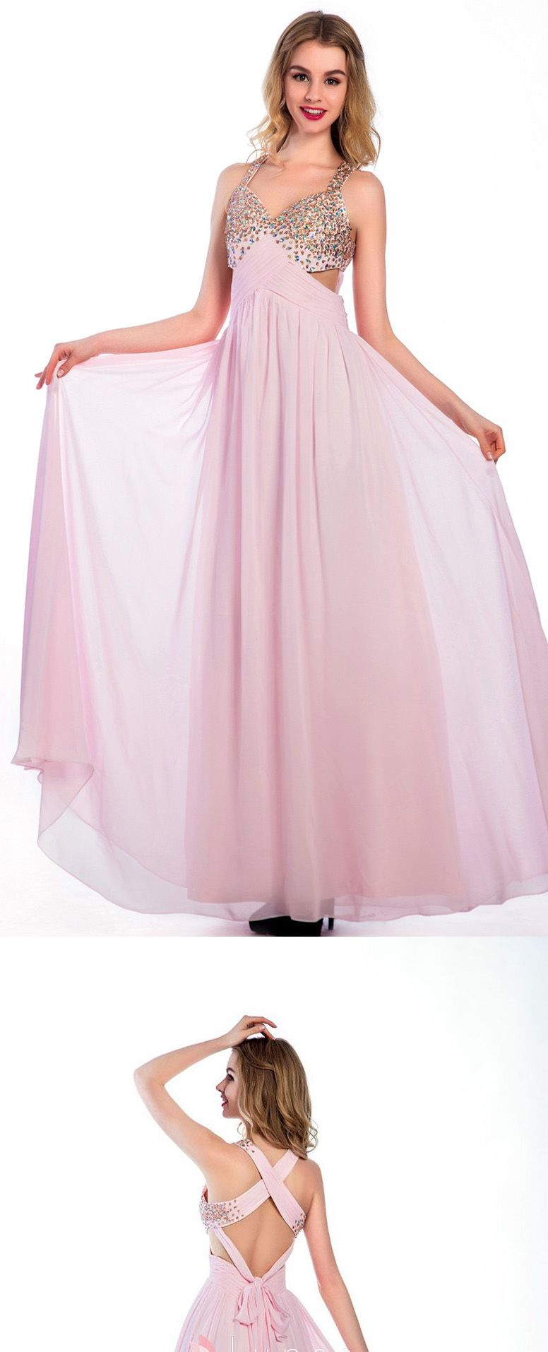Floorlength pink chiffon vneck prom dresses homecoming dress ed