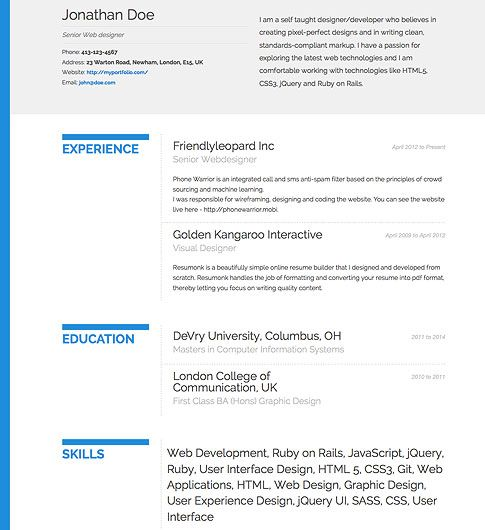 Free Resume Search Resume Template  'bold'  Free Resume Template  Beautiful Résumé