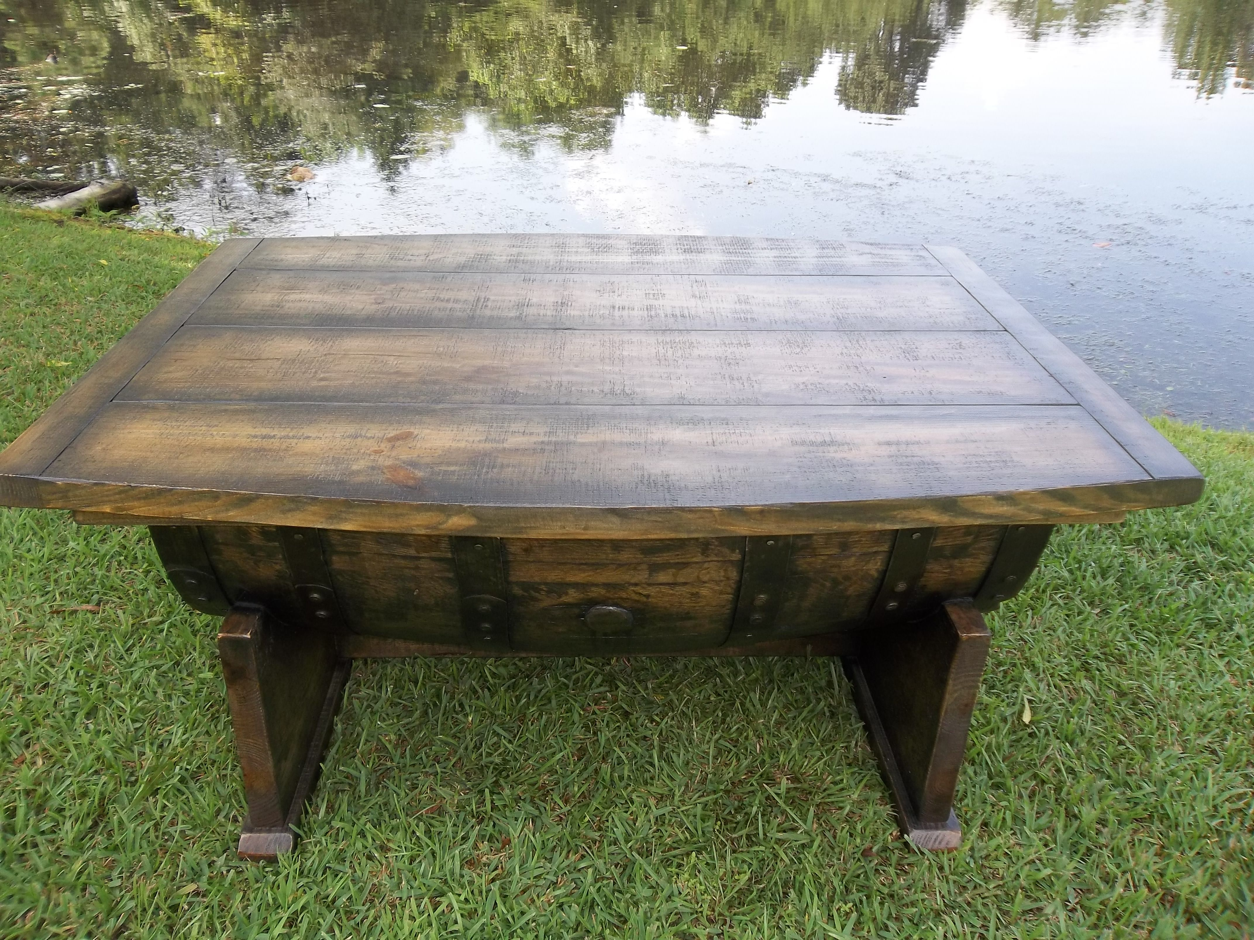 """the """"Dirty South"""" bourbon barrel sippin table"""