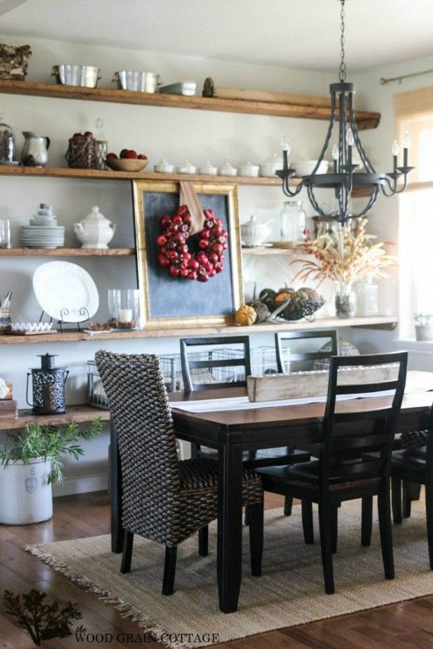Wall of open shelving in your dining room - display your ...
