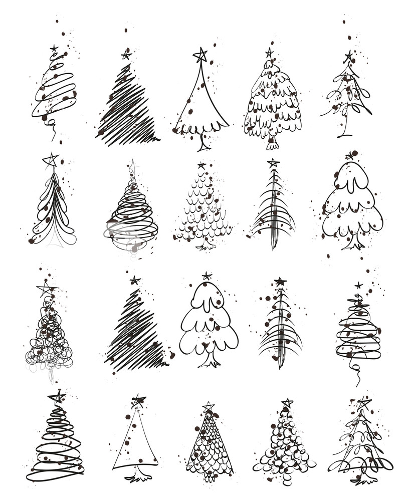 Hand Drawn Christmas Tree Set Of Sketched Illustrations Of Firs Green Ink And Brush Sketch Christmas Tree Drawing Christmas Tree Sketch Christmas Card Design