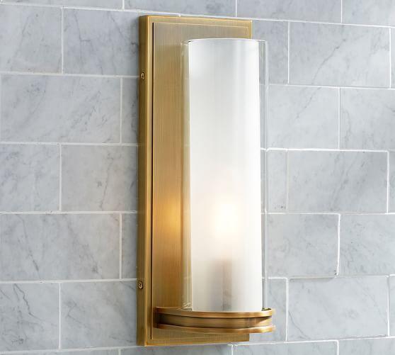 Pearson Tube Sconce, Single, Brass Bathroom sconces