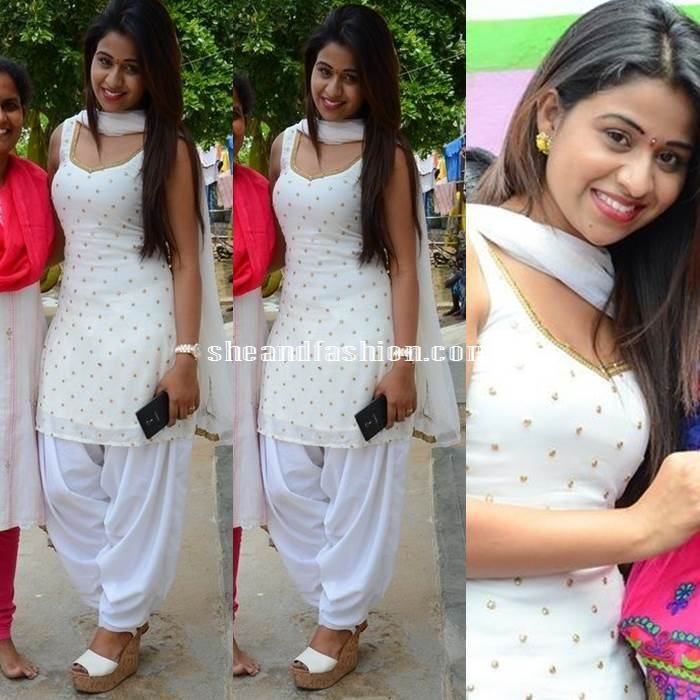 Manali Rathod In White Patiyala Salwar On Her Birthday