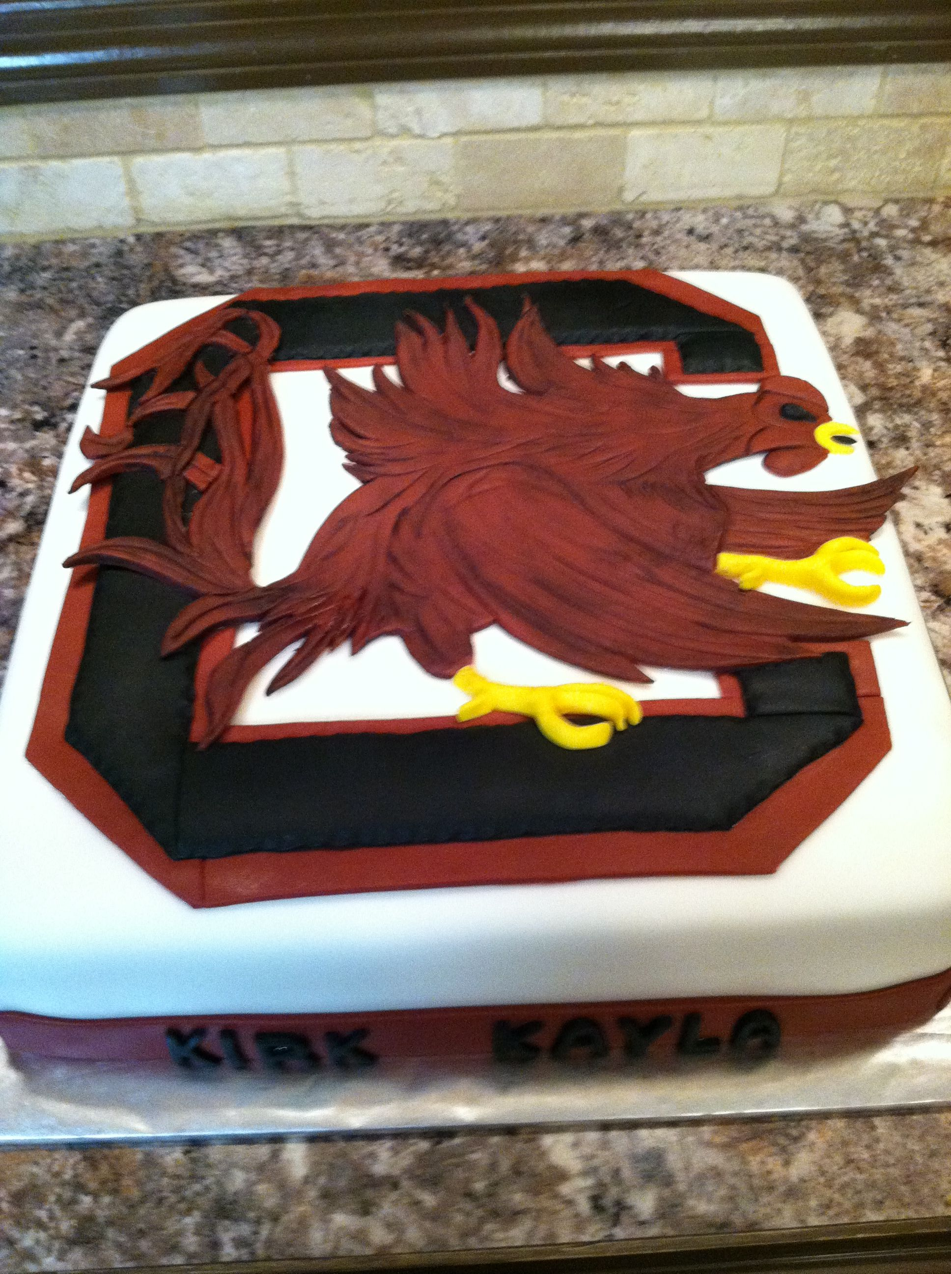 Gamecock Grooms Cake I Made All Made From Fondant Cakes Pinterest