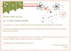 "Stampin' Up! Flyer Workshop ""Mehr Blüten"""
