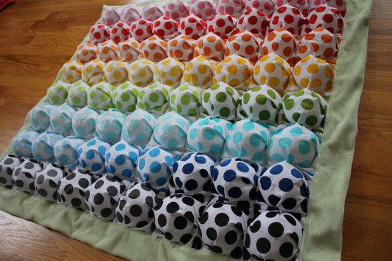 Bubble Blanket - Puff Blanket - Biscuit Quilt - Rainbow Polka Dots ... : polka dot quilt pattern - Adamdwight.com