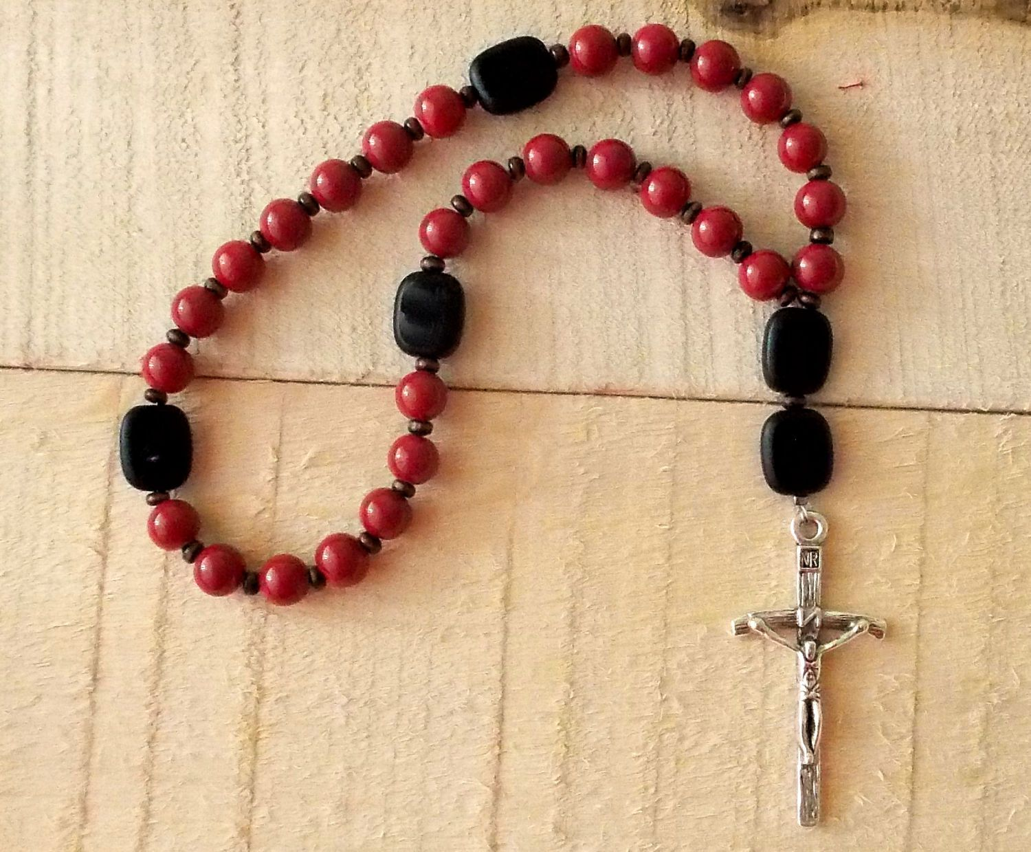 Red brick glass and black czech glass anglican prayer beads by