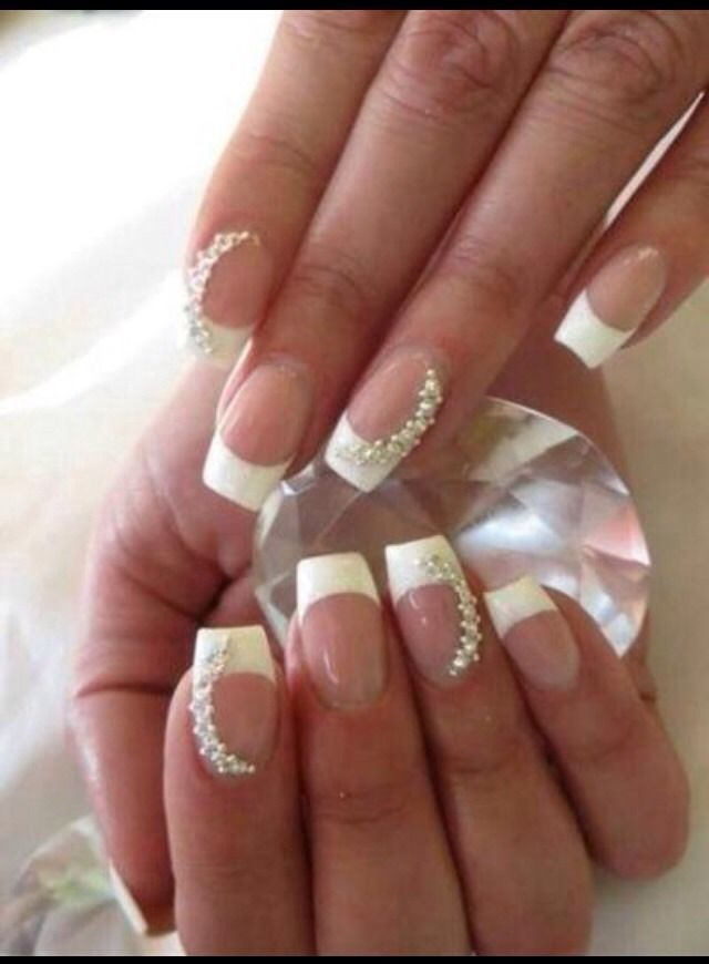 Square French Nails With Gems ♡ | Dream Catcher Nails | Pinterest ...