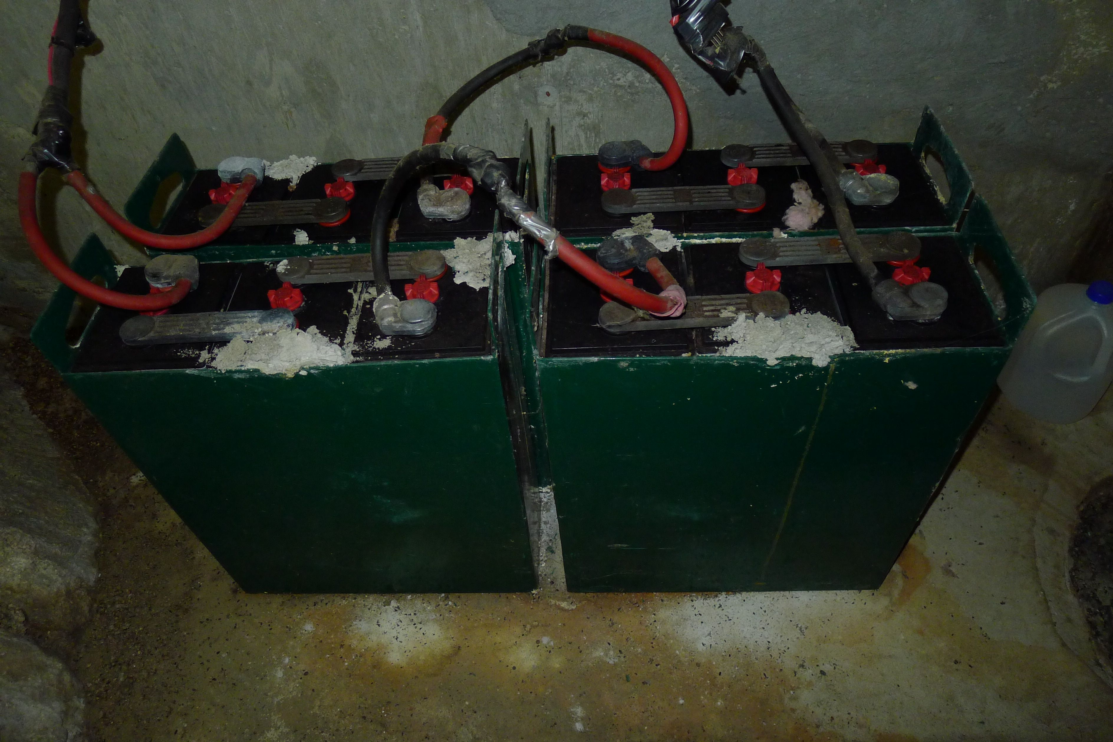 Corroded industrial forklift batteries off grid