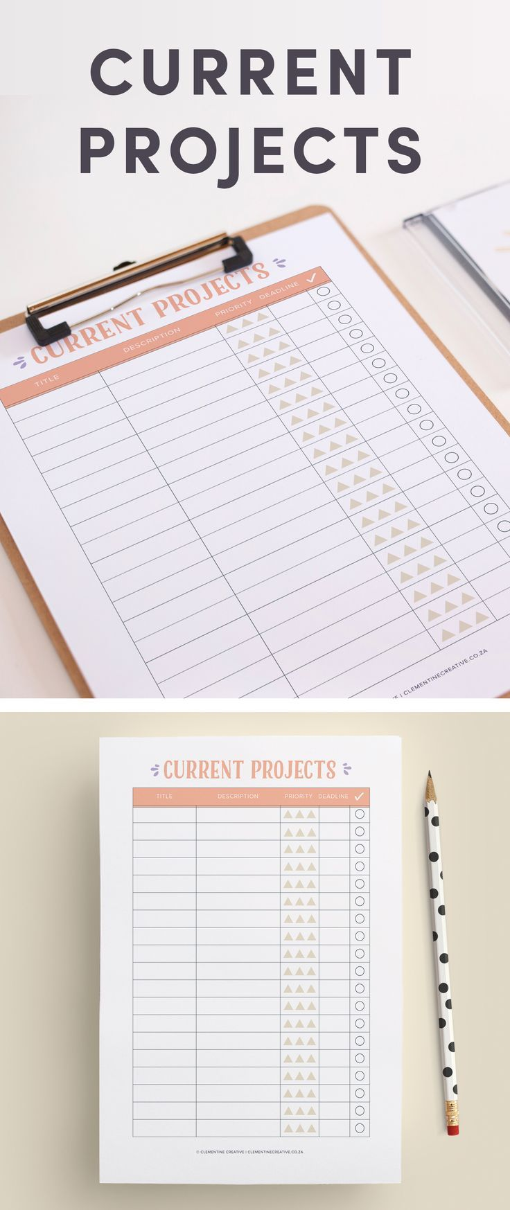 Current Projects Planner Insert  Planner Inserts Organizing And