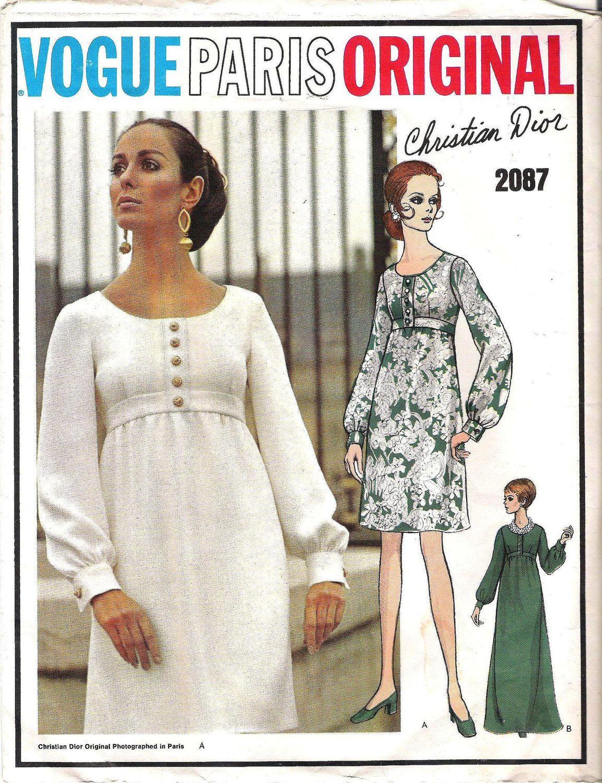 Vintage 1960s Vogue Paris Original CHRISTIAN DIOR 2087 Mini & Maxi ...