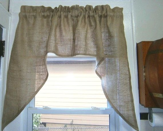 Burlap Kitchen Curtain Valance Two Piece Swag 60Kirtamdesigns Enchanting Swag Curtains For Kitchen Design Inspiration