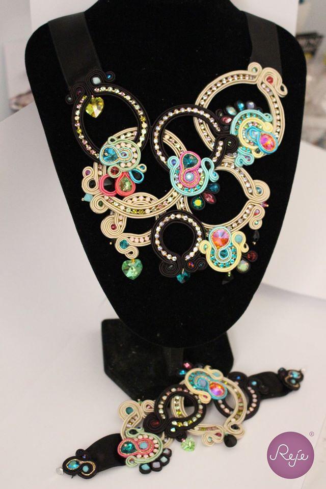 Haute couture soutache set bracelet and necklace Entirely hand