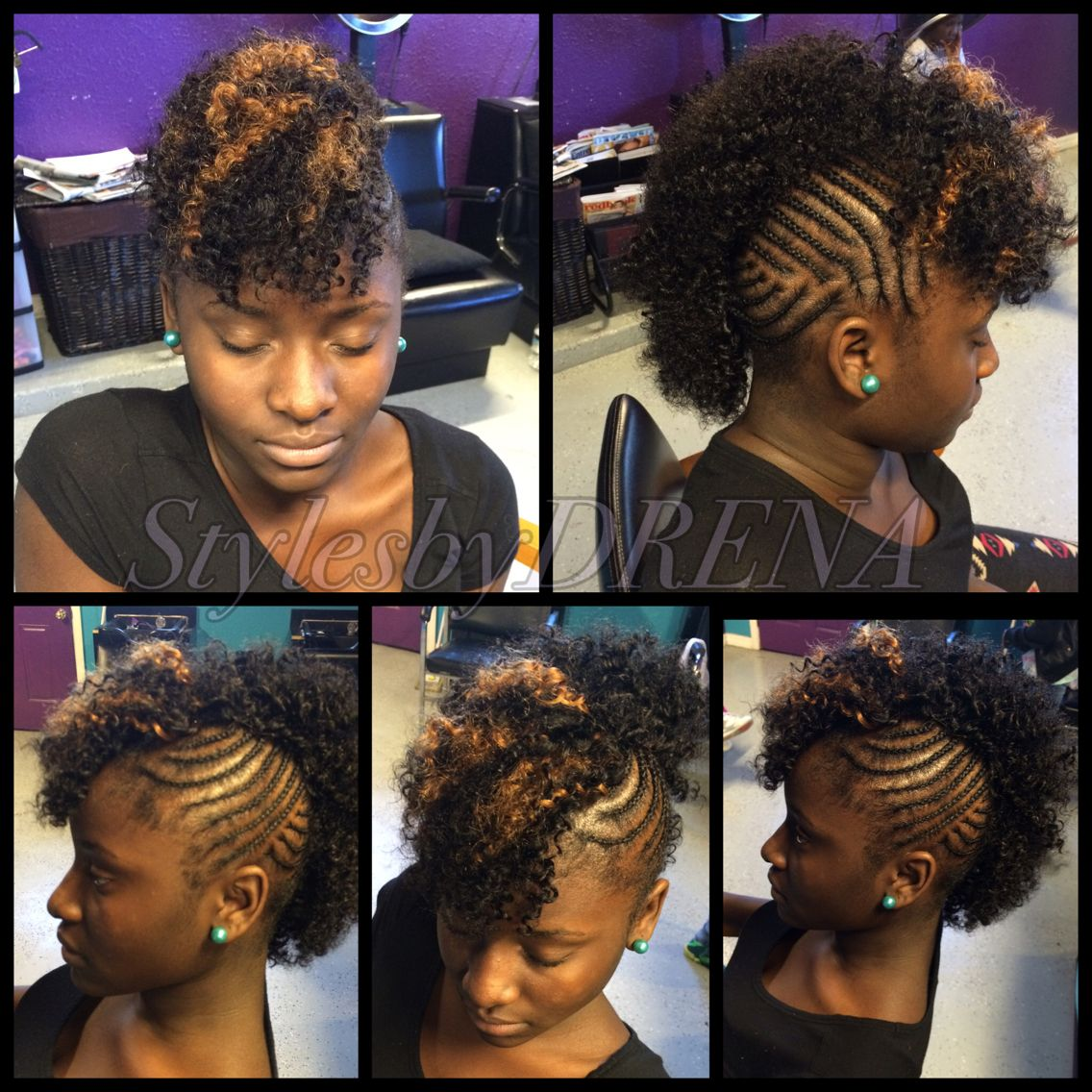 braided mohawk w/ jerry curl sew in | sew ins/quick weaves