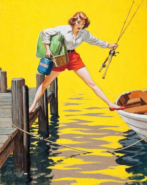 "oldfishingphotos:    ""The Predicament""  By Arthur Sarnoff, 1955  Source: fantasy-ink"