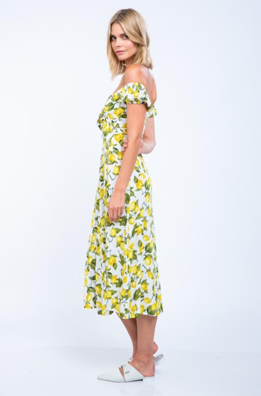 White Lemon Print Dress Off The Shoulder Dress Midi Dress Bohopink Lemon Print Dress Boho Clothes Online Dresses [ 1280 x 846 Pixel ]