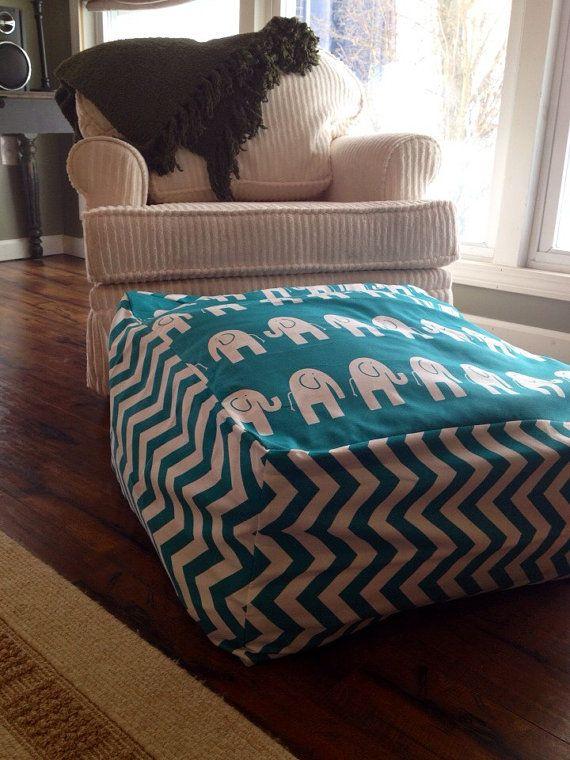 Blue Teal Elephant Chevron Bean Bag Chair By EverbellemKids