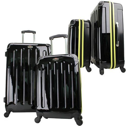 Swiss Case 28″ BLACK/YELLOW 4 Wheel Hard Suitcase   FREE Carry-on ...