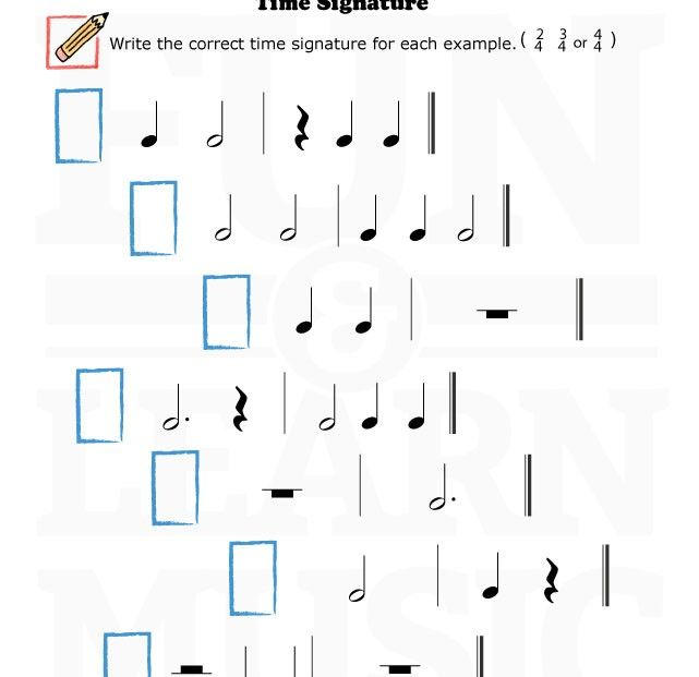 Music Worksheets Time Signature 009 Music Worksheets