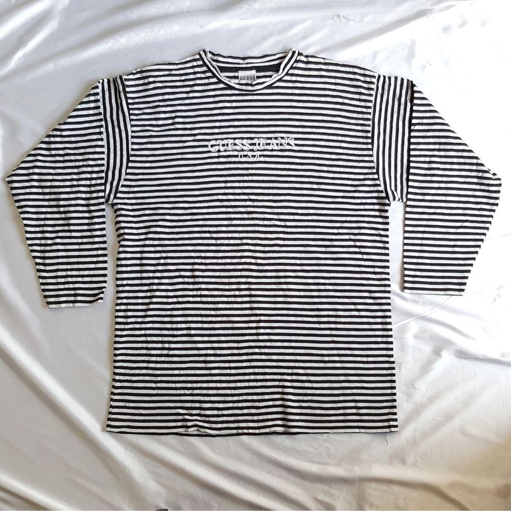 b33b53dfa31f Vintage Guess Jeans USA Spellout Striped Long Sleeve Shirt ASAP ROCKY HIP  HOP RARE http: